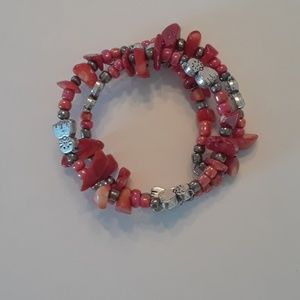 Cat and coral handmade wrap bracelet